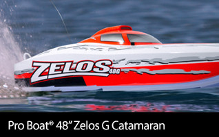 Go BIG on the water with the massive Pro Boat 48-inch Zelos G Catamaran