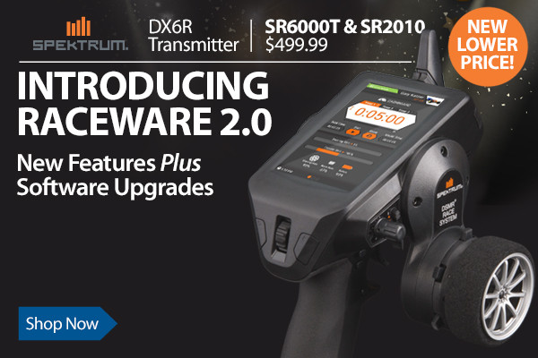 The DX6R delivers the ultimate transmitter from Spektrum with an intuitive Android-powered touch interface.