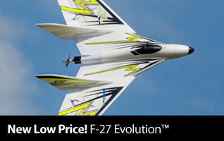 New Low Price - E-flite F-27 Evolution BNF Basic Sport Flying Wing Airplane
