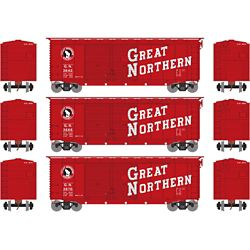 Athearn 16045 HO 40' Double Door Box Great Northern GN (3)