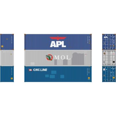 Athearn 17645 N 40' High-Cube Container, Assorted #1 (3)
