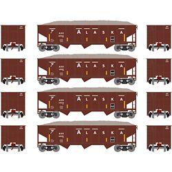 Athearn 1876 N 40' Outside Braced Hopper/Load Alaska Railroad (4) #1