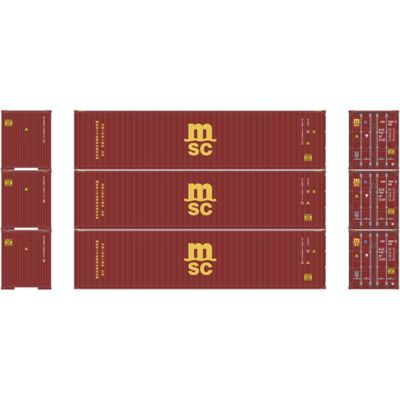 Athearn 27170 HO RTR 40' High-Cube Container, MSC (3)