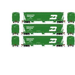 Athearn 12919 N ACF 4600 3-Bay Centerflow Hopper Burlington Northern BN #1 (3)