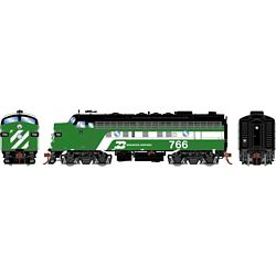 Athearn G19535 HO F9A w/DCC & Sound Burlington Northern/Dual Service #766