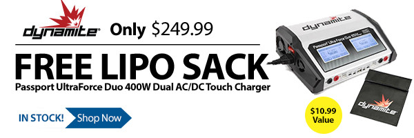 Get a free LiPo sack and save $10 off the regular price of the Dynamite Passport Duo 400W Dual AC/DC Touch Charger