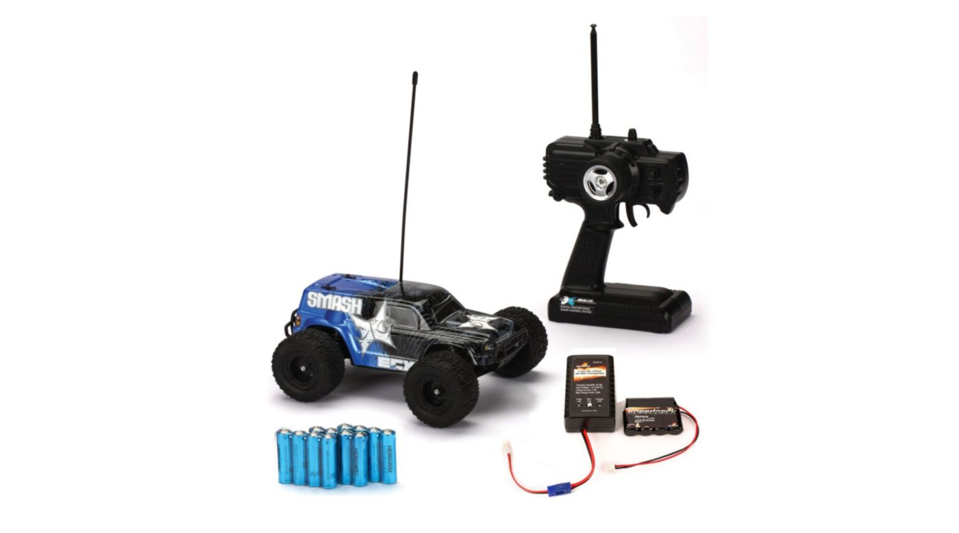 Image for 2WD 1/18 Smash Monster Truck RTR, Blue with Battery & Charger from HorizonHobby