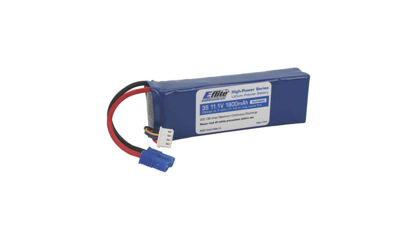 Image for 1800mAh 3S 11.1V 20C LiPo, 13AWG EC3 from HorizonHobby