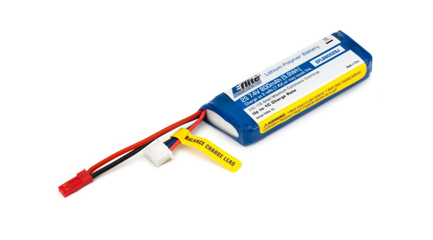Image for 800mAh 2S 7.4V 20C LiPo 20AWG JST from HorizonHobby