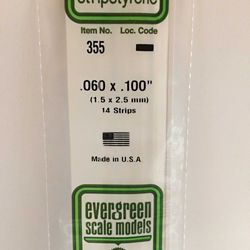 """Evergreen 355 Opaque Styrene Strips .060"""" Thick 24"""" Long .100"""" Wide pkg 14 269-355"""