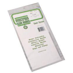 """Evergreen 9007 Styrene Sheet Clear 6 x 12"""" 15.2 x 30.5cm .015"""" .04cm pkg 2 269-9007"""