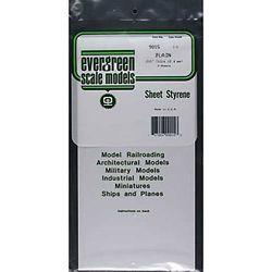 """Evergreen 9015 Styrene Sheet Plain 6 x 12"""" .015"""" Pkg 3"""