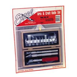 Excel 44382 Hobby Knife Set Wooden Box Carded 271-44382