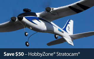 HobbyZone Stratocam save $50! Easy to fly airplane with Camera!