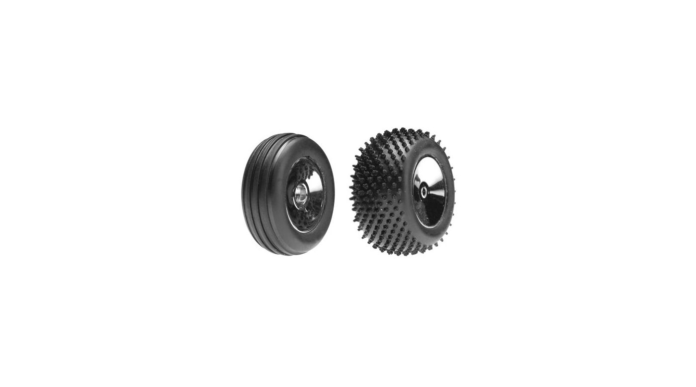 Image for Front/Rear Wheels & Tires, Chrome: Micro-B from HorizonHobby
