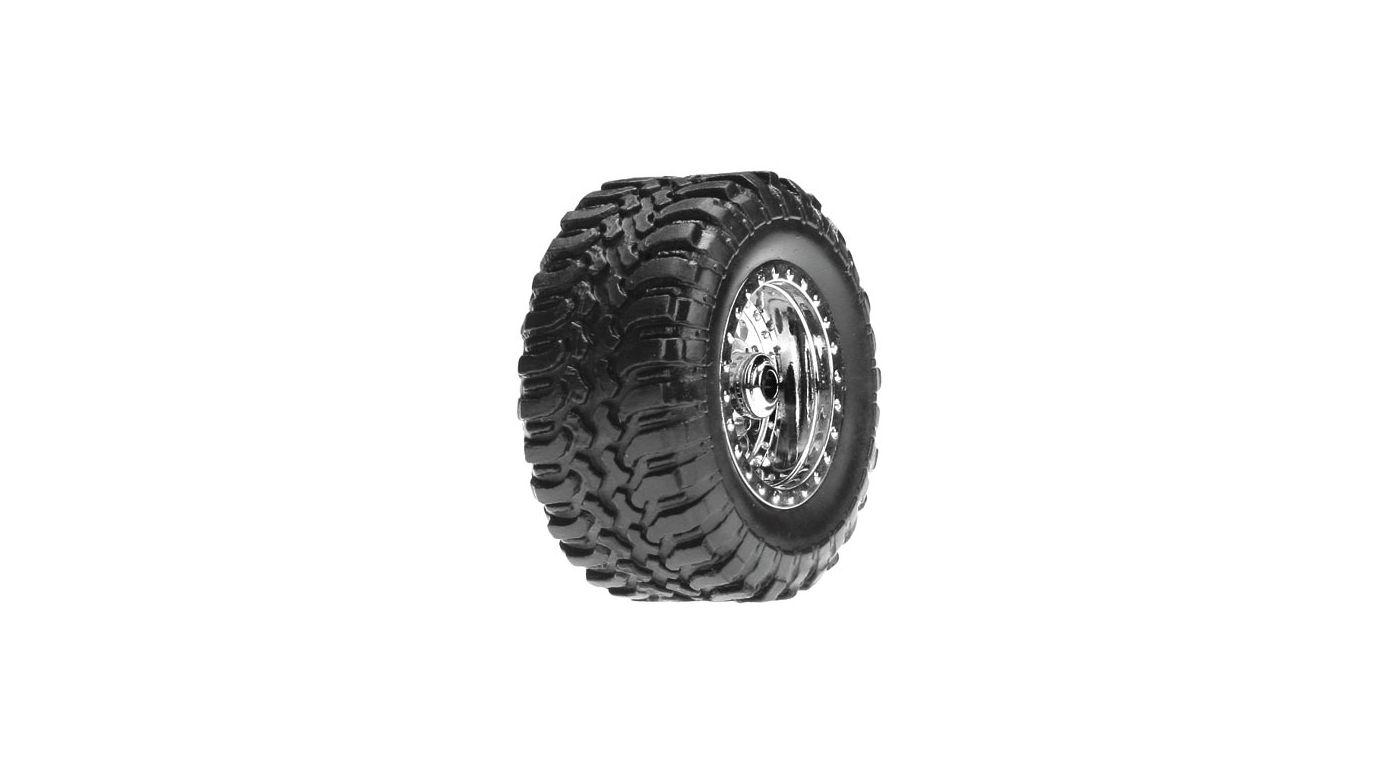 Image for Desert Tire Set Mounted, Chrome (4): Micro DT from HorizonHobby