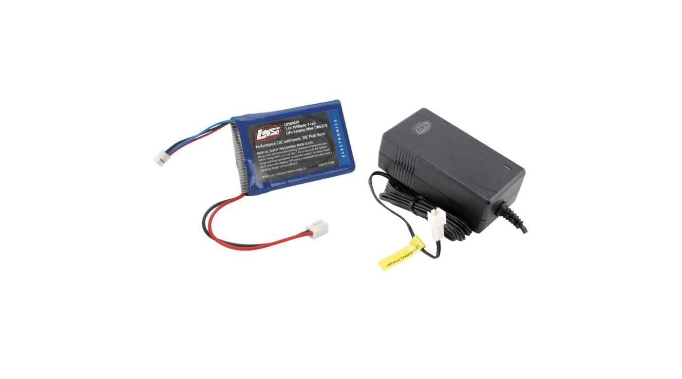 Image for 7.4V 1650mAh LiPo/Charger: Mini-T/DT/MLST/2 from HorizonHobby
