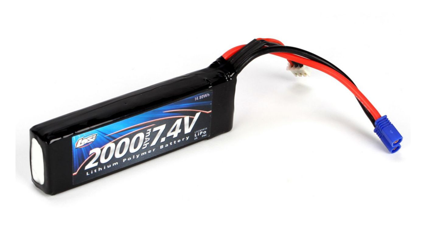 Image for 7.4V 2000mAh 2S 20C LiPo, Long: EC2 from HorizonHobby