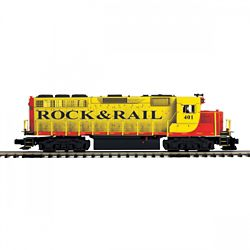 MTH 20212031 O-27 GP40 w/PS3 Hi-Rail Rock & Rail #401