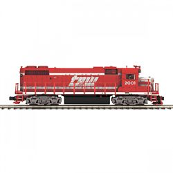 MTH20212231 MTH Electric Trains O-27 GP38-2 w/PS3 Hi-Rail, TP&W #2001