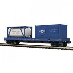 MTH 20-95385 O Flat w/ Tank Container & 20-' Cont USAF #35795