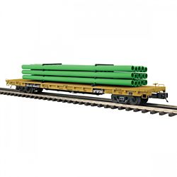 MTH 20-95388 O 60' Flat Car w/Pipe Load TTX #93322