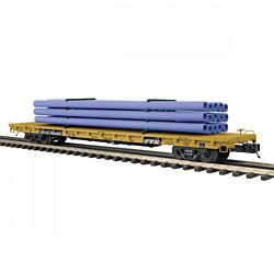 MTH 20-95389 O 60' Flat Car w/Pipe Load TTX #93352