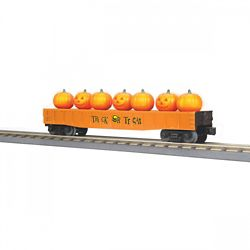 MTH 3072209 O-27 Gondola w/Flickering Lighted Jack-O-Lanterns