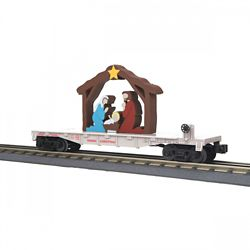 MTH 30-76769 O-27 Flat Car w/Lighted Nativity Christmas/White
