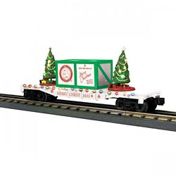 MTH 3076774 O-27 Flat Car w/Lighted Christmas Trees White