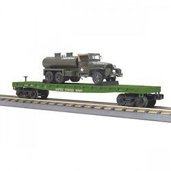 MTH 30-76777 O-27 Flat Car w/6x6 Tank Truck USARM