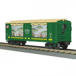MTH 3079599 O-27 Operating Box Car w/Action Large Mouth Bass