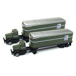 Classic Metal Works 51175 N WC22 Semi Tractor-AeroVan Trailer 2-Pack Mini Metals US Mail green