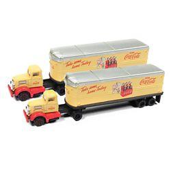 Classic Metal Works 51177 N WC22 Semi Tractor-AeroVan Trailer 2-Pack Mini Metals Coca-Cola