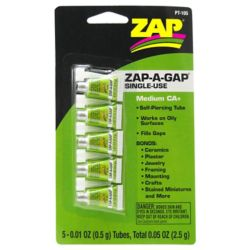 Pacer Glue PT105 Zap-A-Gap Single Use Tubes 5 x 1/2 g Carded