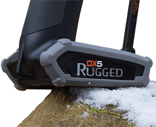 Image of DX5 Rugged radio base atop a snowy rock.