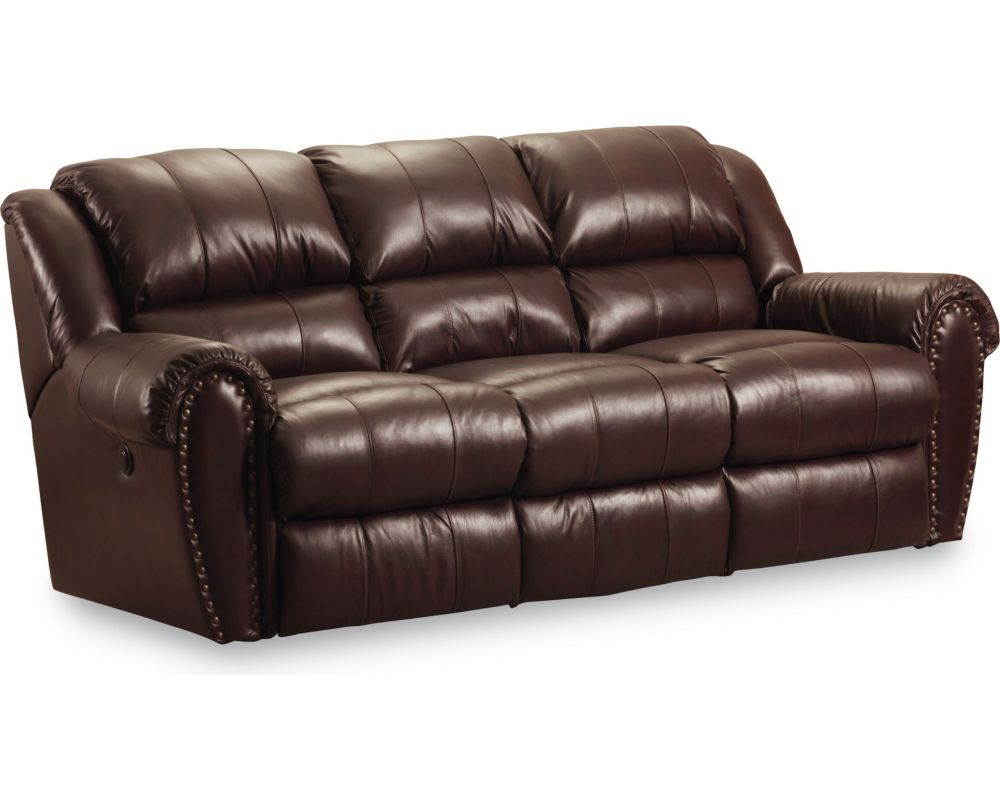 Lane furniture leather reclining sofa talon double for Leather sectional sofa lane