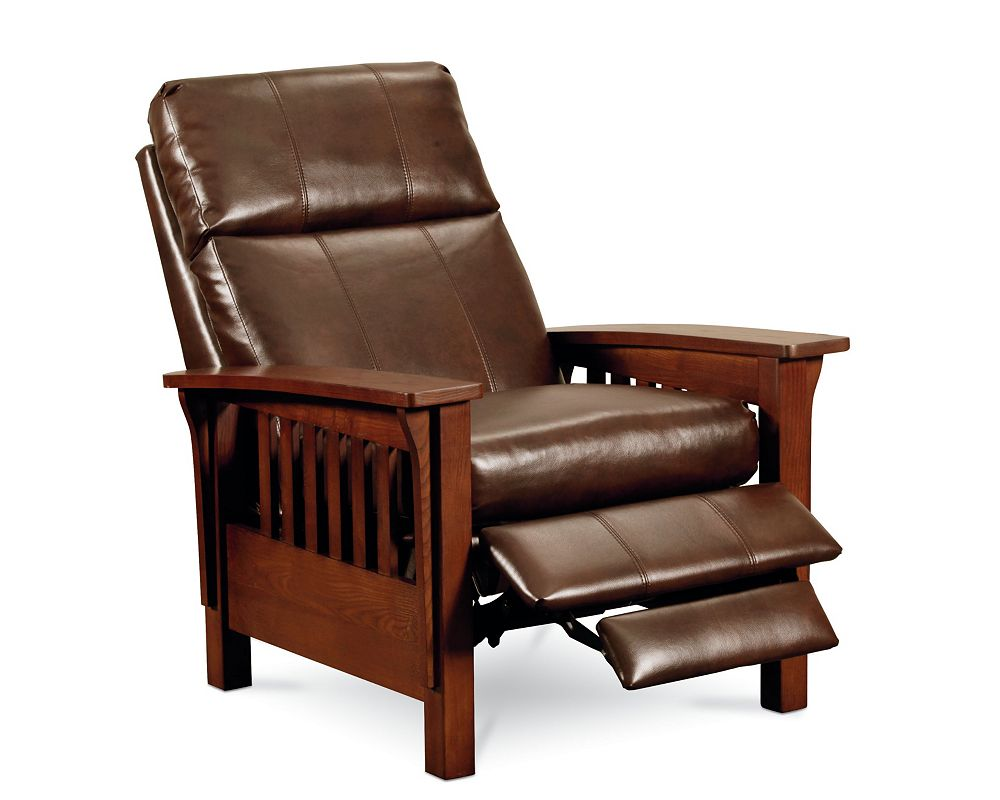 Mission Style Leather Recliner - Mission high leg recliner recliners lane furniture lane furniture