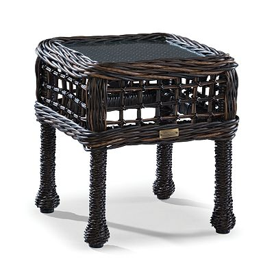 Accent Table W/Woven Insert & Clear Glass