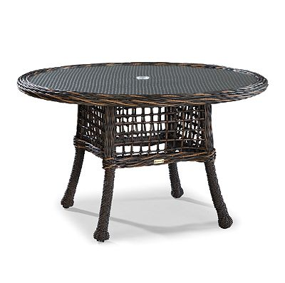 Round Dining Table W/Woven Insert & Glass