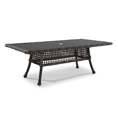 Rect Dining Table W/Woven Insert & Glass
