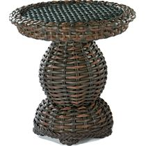 End Table Woven Top W/Glass