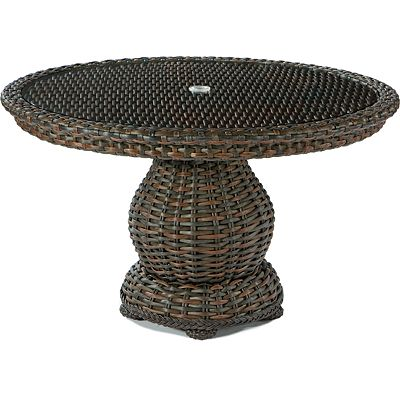 "48"" Round Dining Table Woven Top W/Glass"