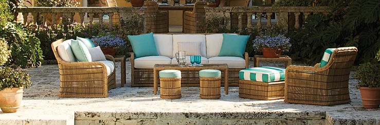 the celerie kemble line features a variety of different collections constructed of weather resistant materials ranging from synthetic wicker to aluminum - Celerie Kemble Furniture