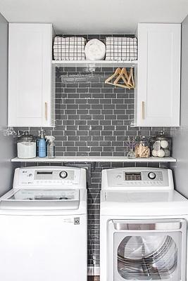 Laundry Room Update with Peel and Stick Tile Backsplash