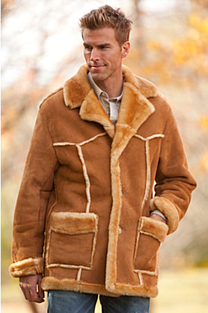 Men's Rancher Shearling Sheepskin Coat : Warm Shearling Coats for ...