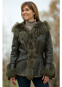 Women's Suzette Double-Faced Rabbit Fur Jacket with Raccoon Fur Trim