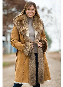 Women's Lillie Suede Coat with Raccoon Fur Trim