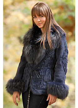 Women's Vivienne Embroidered Rabbit Fur Jacket with Raccoon Fur Trim
