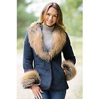 Women's Ciel Shearling Sheepskin Jacket With Fox Fur Trim, Denim / Natural, Size 12 Western & Country